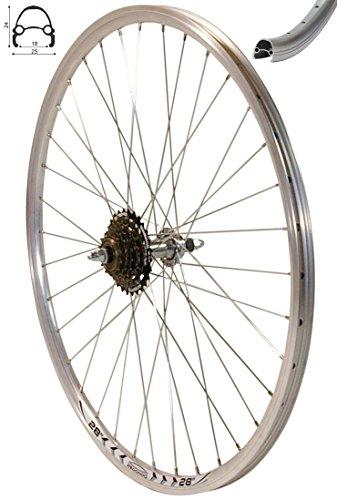 Redondo 28 Zoll Hinterrad Laufrad Hohlkammer V-Prof Felge + 6-Fach Kranz Silber