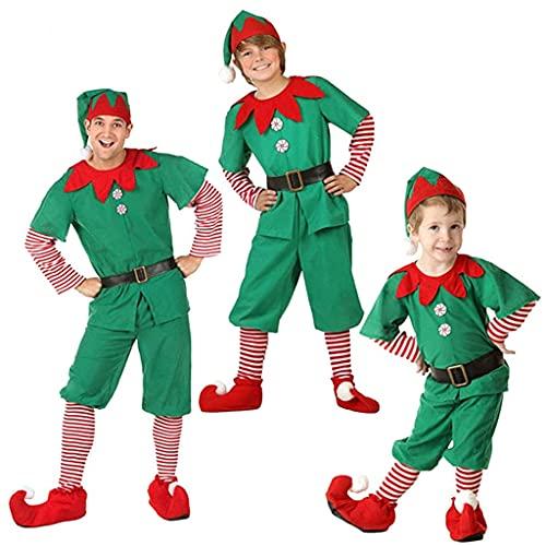 TMOYJPX Disfraz de Navidad Familia Conjunto de Elfos para Adultos y Niños 2-18 años, Cosplay Duende Costume Traje Pijamas Navideño Iguales a Juego (Hombres/Niños, 90)