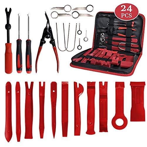 24 stücke Auto Trim Removal Tools, Auto-Tür-Audio-Panel-Removal-Tool-Set, Auto-Clip-Zangen-Fastener-Remover-Pry-Tool-Set mit Aufbewahrungstasche