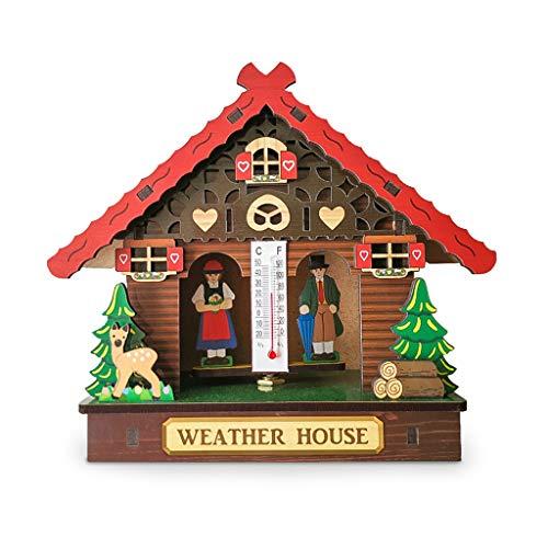FR-POPPYZ Startseite Barometer Thermometer, kreative Holzhaus Wetterstation der Wand befestigter, Meter Indoor Wetter Hygrometer-Feuchtigkeits