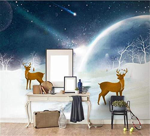 Murales De Paredes Custom 3D Photo Wallpapers Christmas Wind Papel De Pared No Tejido Elk Wallpapers Starry Sky Snow Landscape @ 350 * 245Cm