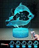 Dauphins 3D Lampes avec Télécommande, QiLiTd LED Lampe 7 couleurs Lumière Dimmable...