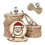 EKKONG Tranche de Bois, 30 Pcs Rondin de Bois Naturel 7-8cm avec Corde de 10 mètres, Idéal pour Les Arts et l'artisanat, Décorations de Noël, Artisanat Bricolage (7-8 cm)