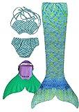 SPEEDEVE Mädchen Meerjungfrauenschwanz Zum Schwimmen mit Meerjungfrau Flosse, 6 (100-110cm), Wasser...