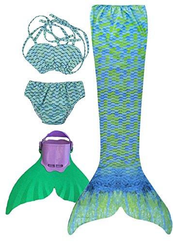 3STEAM Mädchen Bikini Badeanzüge Meerjungfrauenschwanz Zum Schwimmen mit Meerjungfrau Flosse Schwimmen Kostüm Schwanzflosse, Wasser grn - S (140-150cm)