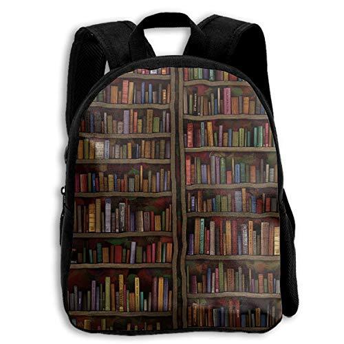 YEGFTSN Vintage Library Bookshelf Bookcase School Backpack Bookbag for Kids Boys Girls