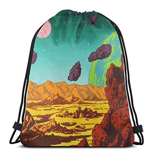 Mochila de viaje espacial con cordón para toalla de cara, bolsa deportiva estilo saco de gimnasio 2