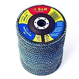 S&R 20 Dischi Abrasivi a lamelle per smerigliatrice 125 mm per Acciaio INOX Metallo. Set 20pz - 5 dischi per grana : P40/60/80/120. Professionali in Corindone di Zinconio