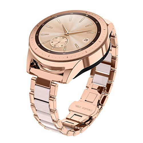 Glebo Armband Kompatibel für Samsung Galaxy Watch 42mm / Active 40mm/ Active 2 40mm 44m, 20mm Metall & Harz Uhrenarmband Ersatzarmband für Samsung Gear S2 Classic/Gear Sport, Rosegold+Rosa