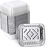 XIAFEI 1LB Aluminum Pans with Clear Lids (50PACK),Foil Pans - to Go Food Containers,Recyclable Aluminum Foil with Strong Seal for Freshness & Spill Resistance- 5.5'x 4.5'x 1.57'