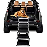 Dog Steps for Large Dog, Lightweight Aluminum Foldable Portable Pet Ladder Ramp with Nonslip Surface for Trucks, High Beds, Cars and SUV, Supports 150-200 Lbs