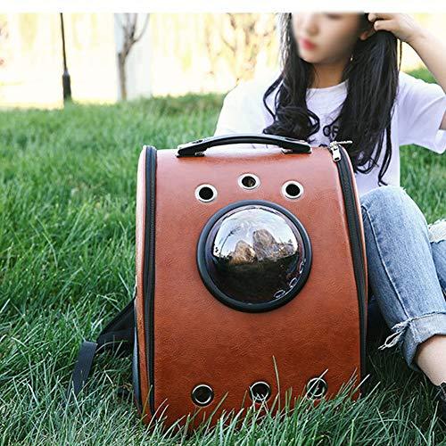 EWQG-Pfanne Astronauten Katzentasche aus PU Leder Mit Hundetasche Kuppelfenster Luftgeprüfte wasserdichte Tragbare Transporttasche Für Kleine Haustiere HUNDEBOX - A Tragbar (Farbe : Brown)
