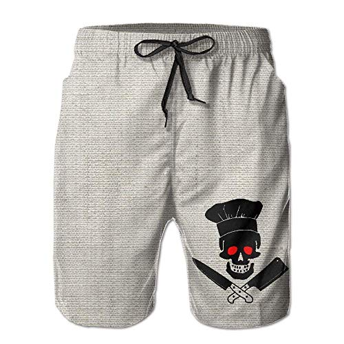 BBggyh Mans Skull Chef Cooking Breathable Boys Beach Shorts Surfing Pants White