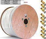 LOKMANN 500m Reines-Kupfer KU 135dB 5-Fach geschirmt Koaxialkabel Koax Sat Kabel Antennenkabel Satellitenkabel TV Cable UHD 4K 6K 8K 3D + 100x F-Stecker