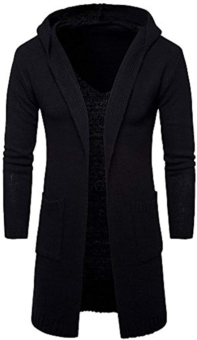 Cicilin Mens Long Sweaters Hooded Knitted Open Edge Thicker Cardigan Outerwear