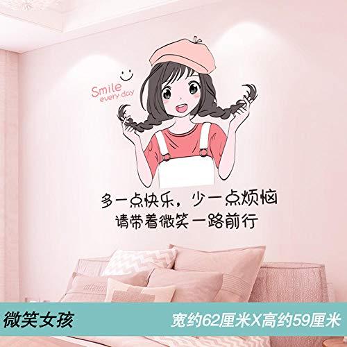 Pegatinas de pared de dibujos animados diseño de habitación de pared de fondo pegatinas de decoración de pared pegatinas de papel tapiz autoadhesivas-niña sonriente_Big