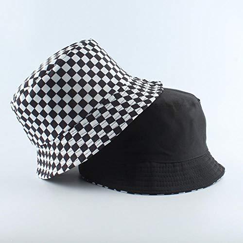 Gorra Polo Moda Reversible Negro Blanco Vaca Estampado Sombrero De Cubo Gorras De Sol De Verano para Mujeres Hombres Sombrero De Pescador-Tartán