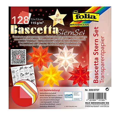 folia 899/0707 - Bastelset Bascetta Stern, aus Transparentpapier für 4 Sterne, 7,5 x 7,5 cm, 4 x 32 Blatt, fertige Größe der Papiersterne ca. 10 cm, mit Anleitung, zur zeitlosen Dekoration