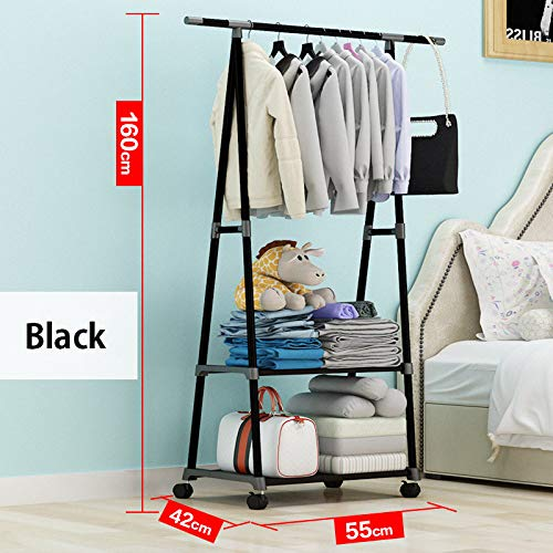 Leshared eenvoudige driehoekige garderobe kan worden verplaatst, metaal gemonteerd kledingkast meubels multifunctionele creatieve kledingstandaard met wiel