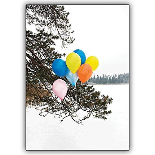 Wenskaarten met korting voor hoeveelheid: Foto wenskaart niet alleen voor verjaardag: Kleurrijke ballonnen in de sneeuw • mooie wenskaart voor verjaardag met envelop zakelijk & privé 10 Grußkarten