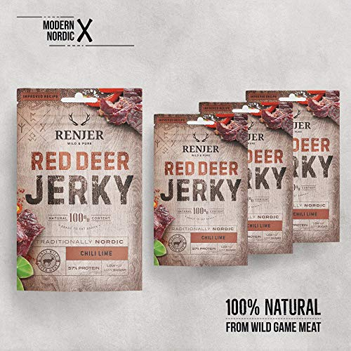 Red Deer Jerky Chili & Lime / Hirsch Jerky with mit Chili und Limette (4er Packung, 100 g)