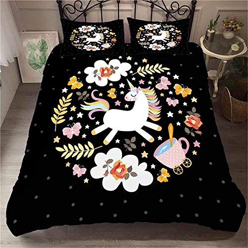MENGBB 3D Cot Duvet Cover and Pillowcase Set Black flowers animals horses 260x220cm Total 4 Size, give away pillowcase, 3D Bedding Set - Quilt Cover with Zipper Closure + Pillowcases, Microfiber Duvet