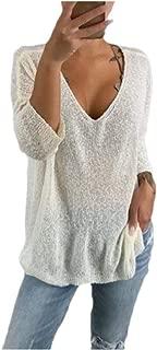 neveraway Women's Solid Color Long-Sleeve Loose Pullover V-Neckline Knitwear