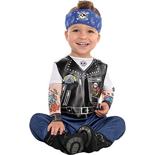 amscan 9900880 - Disfraz de motero con mangas y sombrero, talla 0-6 meses, 1 unidad, color liso