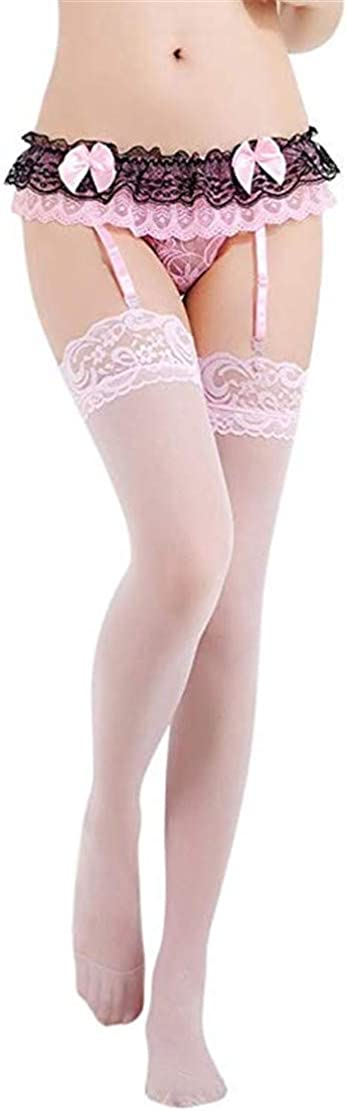 Mismxc Women's 3 Pieces Lace Garter Belt and Stockings Sets with G-String Panty
