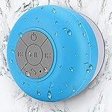 Mini Bluetooth Shower Speaker Waterproof Handsfree Speakerphone Music in Bathroom Wireless Portable Speakers Built-in Mic Suction Cup for Kids Gift Adults Home Bathroom-Blue