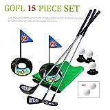 SOWOFA Jouets de Golf pour Enfants Ensemble de 14 pièces Full Metal Rod Produits de Golf Pratique de Golf Ensemble de Golf intérieur et extérieur Jouets