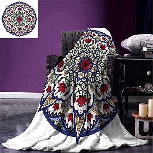 LILANG Manta Caliente marroquí Tiro asiático étnico Mandala Flores de Loto caleidoscópico Circular Antiguo Tradicional cálido Manta de Microfibra 150x200cm
