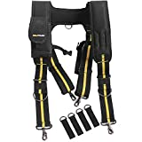 Tool Belt Suspenders|Padded Suspenders with remove phone holder Tape Holder Tool Pouch holder, Adjustable Straps, Suspenders Loop Attachments for Dewalt CLC carpenter electrician work Suspension Rig