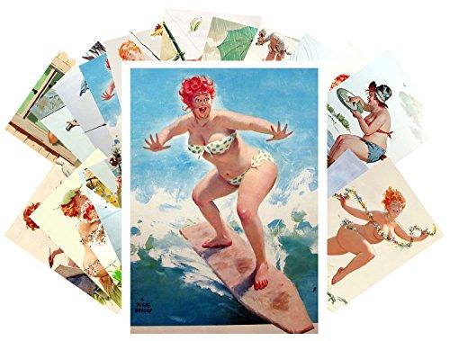 Pinup Postcard Set 24 cards Chubby Sexy Girl Redhead Hilda Vintage illustrations