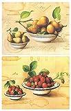 Cuadro de cocina fruteros. Set de 2 Unidades de 19 cm x 25 cm x 4 mm unid Adhesivo FÁCIL COLGADO....