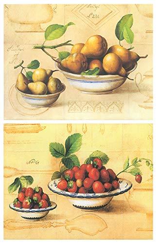 Cuadro de cocina fruteros. Set de 2 Unidades de 19 cm x 25 cm x 4 mm unid Adhesivo FÁCIL COLGADO. Adorno decorativo pared Ideal para Hogar/Cocina/Cafetería.