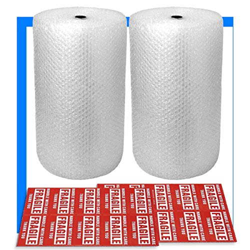 2-Pack Bubble Cushioning Wrap Rolls, 3/16' x 12' x 72' ft Total,...