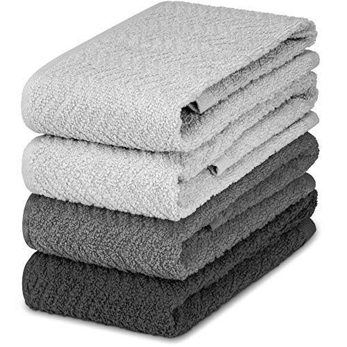 DecorRack 4 Large Kitchen Towels, 100% Cotton, 15 x 25 inches, Absorbent Dish Drying Cloth, Perfect for Kitchen, Solid Color Hand Towels, Gray (4 Pack)