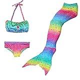 Paisdola niñas Sirena Cola Princesa Bikini Conjunto Cosplay Traje de baño Traje de Sirena (GB04,120)