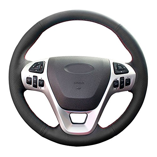 Black leather with Black thread Eiseng DIY Genuine Leather Steering Wheel Cover for Nissan Rogue SUV 2008 2009 2010 2011 2012 2013 X-Trail ST//Nissan Sentra Sedan 2007-2012 Stitch on Wrap