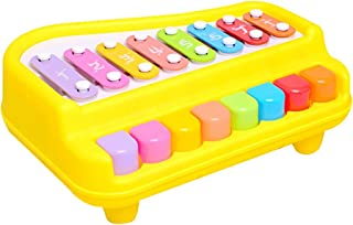 khkadiwb Repair Tool Learning & Education 2 in 1 Piano Xylophone Musical Instrument with Music Cards Mallets Educational Kids Toy - Yellow Brain Development Science Learning Fun Experiment