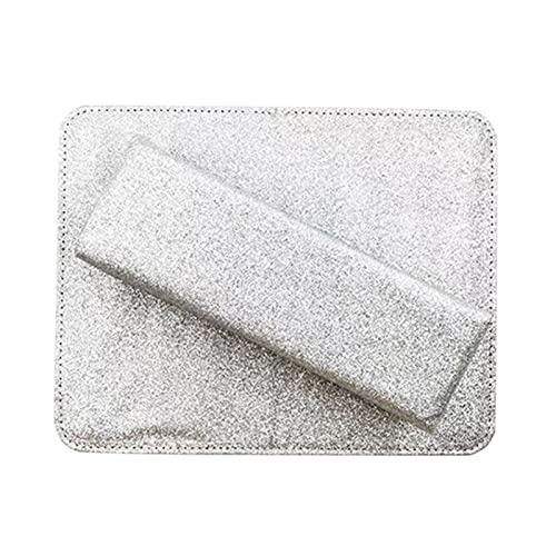 MVPACKEEY Nail Art Sponge Shinning Rest Hand Holder Manicura Mesa cómoda con Mat (Plata)