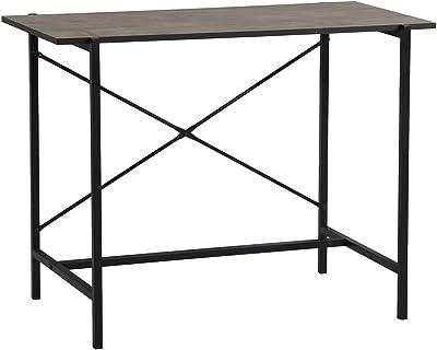 MEUBLE COSY Bureau d'ordinateur avec tiroirs Table Informatique en Acier Poste de Travail Style Industriel, Marron, 100x51x75cm