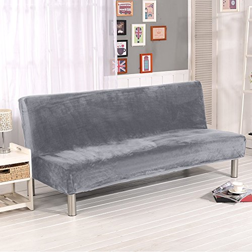 SHZONS Plush Sofa Cover, Solid Color Plush Thicker Folding Anti-Slip Armless Sofa Futon Cover for Patio Couch Bench