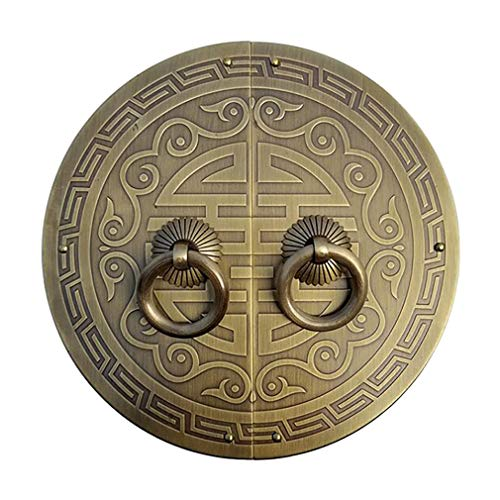 Tiazza Un par de tiradores de placa redonda de latón antiguo con mango para zapatos, armario, armario de cobre puro, estilo vintage, doble anillo de puerta (tono bronce)