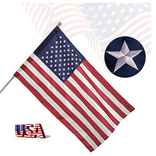 Freefy 3x5 Ft American Flag Pole Sleeve Banner Style-Embroidered Stars,Sewn Stripes,UV Protected,heavy duty Durable Nylon USA US Outdoor Indoor Flags (Pole NOT Included)