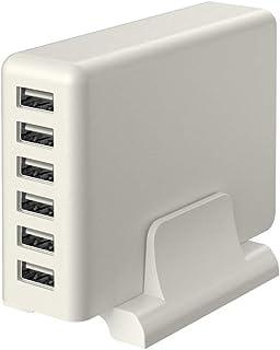MOTTERU (モッテル) AC充電器 USB 6ポート 60W スタンド付き 急速充電 6台同時充電 PSE認証済 日本メーカー 2年保証 エアリーホワイト MOT-AC60U6-WH