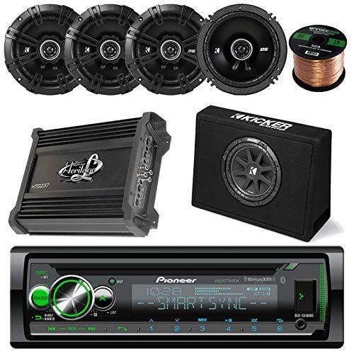 Pioneer CD Receiver Bundle Combo with Kicker 10' Inch 300W Audio Subwoofers + 4X Kicker DSC6504 6.5' Coaxial Speakers + Lanzar HTG237 1000W Stereo Amplifier + Enrock 50Ft 16g Speaker Wire