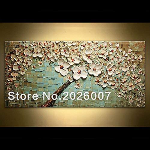 Orlco kunst handgeschilderde landschap abstract paletmes schilderijen van groene basis witte bloem schilderij foto's canvas voor familie muur woonkamer kunst 24x48inch klaar om op te hangen