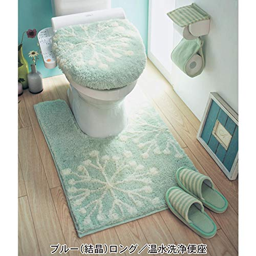 BAOZIV587 Japanse Fresh Toilet Driedelig Toiletbril Cover Lente en Zomer Toiletbril Kussenzitting Cover U-Shaped Vloermat, Blauw Sneeuwvlok Driedelig